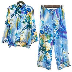 Natori Blue Floral Butterfly Silky Pajama Set S
